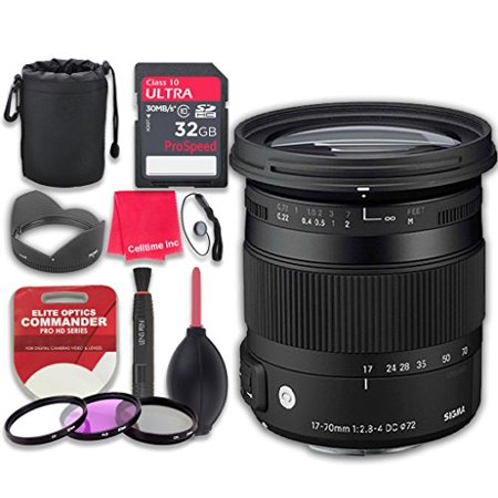 Sigma 17-70mm f/2.8-4 DC Macro OS HSM Lens for Canon w/ 32GB Ultra Pro Speed Class 10 SDHC Memory Card + 3pc Filter Kit (UV-FLD-CPL) + Deluxe Sleeve + Microfiber Cleaning Cloth - International Version