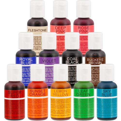 12 Color Chefmaster Liqua-Gel Cake Coloring Set, 0.7 oz. Kit by US Cake Supply
