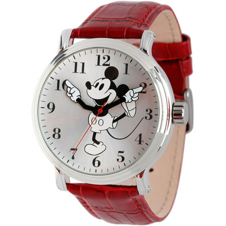 Mickey Mouse Men's Shinny Silver Vintage Articulating Alloy Case Watch, Red Leather Strap