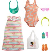 Barbie Storytelling Fashion Pack Inspired by Roxy: Striped Dress, Roxy Swimsuit & 7 Beach-Themed Accessories for Barbie Dolls