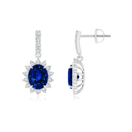 46d501ddd Angara - September Birthstone Earrings - Blue Sapphire Dangle Earrings with Floral  Diamond Halo in 14K White Gold (5x4mm Blue Sapphire) ...