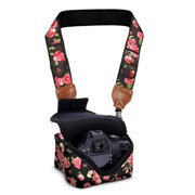 USA GEAR TrueSHOT Neoprene Floral Camera Neck Strap and Camera Case with Accessory Storage Pockets