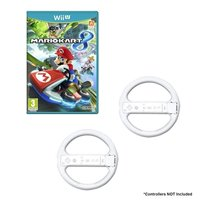 Refurbished Mario Kart Game Bundle With 2 Wii Wheels White For Wii U