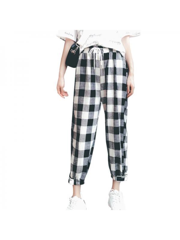 JIMSHOP Loose Korean Women Plaid Long Pants Ankle-Length
