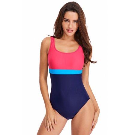 Womens Athletic One-Piece Swimsuit Swimming Costume Padded Swimsuit Monokini Push Up Bikini Sets Swimwear Racing Bathing (Racing Swimsuits For Women)
