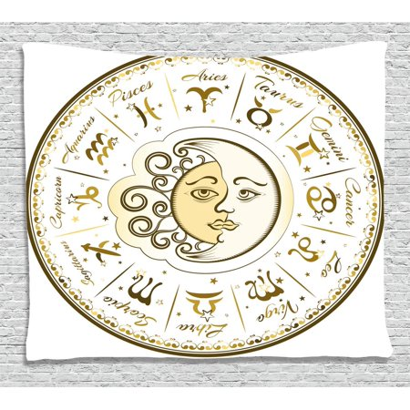 Zodiac Decor Tapestry, Circular Zodiac Chart Apparent Position of Sun and Moon in Centre Pattern, Wall Hanging for Bedroom Living Room Dorm Decor, 60W X 40L Inches, Yellow Beige, by - Sun And Moon Decor