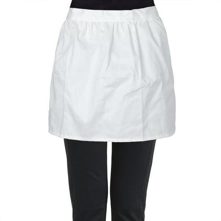Duck Waist Apron - Aspire White Half Aprons, Cotton Kitchen Cafe Waitress Waist Apron Tea Party Maid Working Costume-White-M