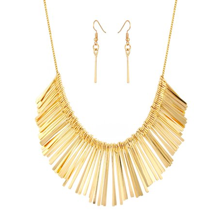 TAZZA WOMEN'S GOLD-TONE MATEL FRINGE TASSEL EARRINGS AND STATEMENT NECKLACE