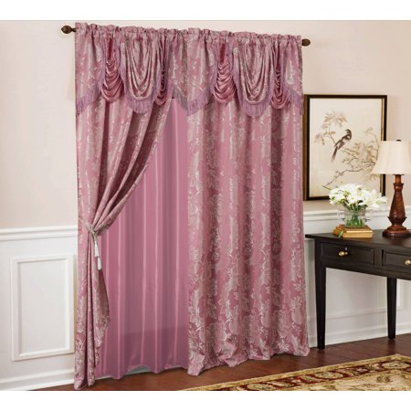 Rosalie Floral/Damask Textured Jacquard 54 x 84 in. Single Rod Pocket Curtain Panel w/ Attached 18 in. Valance in Rose Pink Floral Jacquard