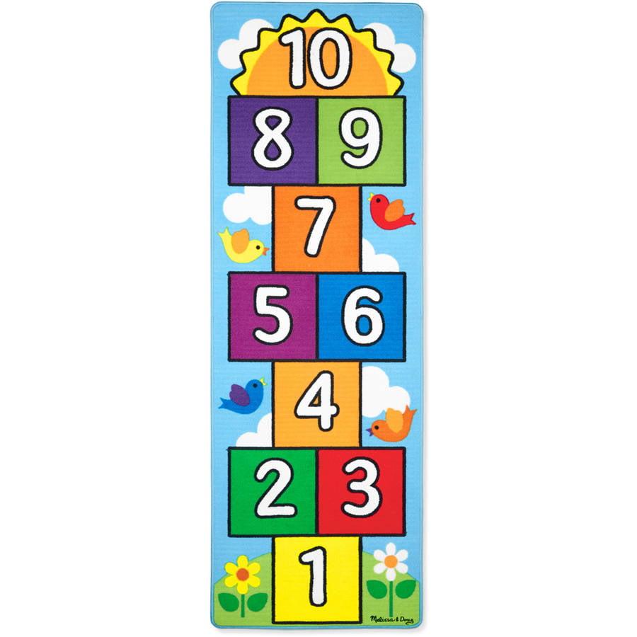 """Melissa & Doug Hop and Count Hopscotch Game Rug , 3-Pieces, 78.5"""" x 26.5"""""""