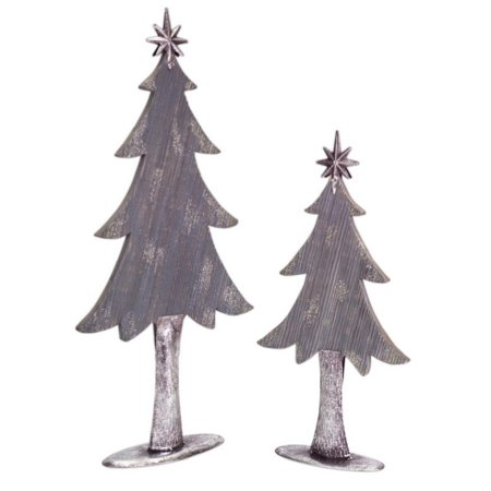 pack of 4 two tone silver metal and wood christmas tree decorations 20 - Metal Christmas Decorations