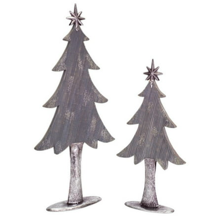 pack of 4 two tone silver metal and wood christmas tree decorations 20 - Wooden Christmas Tree Decorations