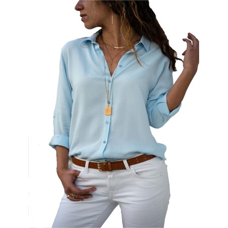 MJCI Women Button Plus Size Tunic T-Shirt Casual Turn Down Collar Tops Blouse Roll Up Long Sleeve Loose Shirt