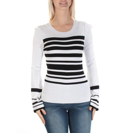INC Womens White Striped Bell Sleeve Scoop Neck Wear To Work Top  Size: M