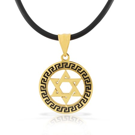 Stainless Steel Yellow Gold-Tone Black Greek Key Jewish Star of David Men's Boys Pendant Necklace