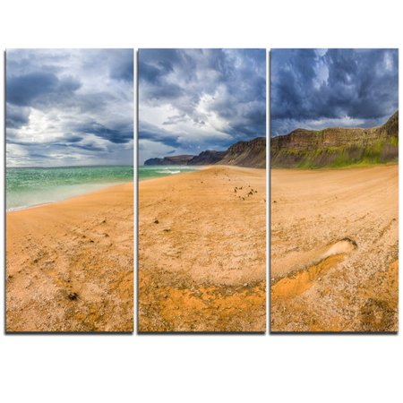 - Design Art Brown Beach by Arctic Sea Panorama - 3 Piece Photographic Print on Wrapped Canvas Set