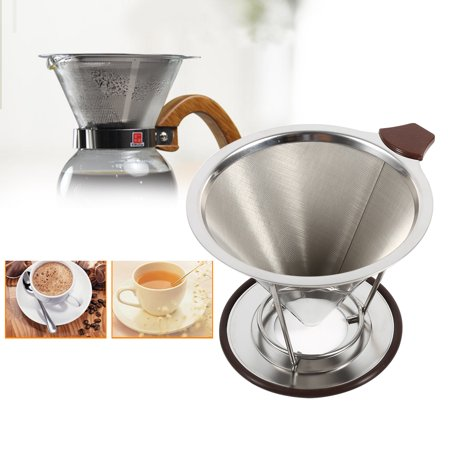 Eecoo Coffee Cone Filter 1x Portable 304 Stainless Steel Drip Dripper Double Layer Mesh