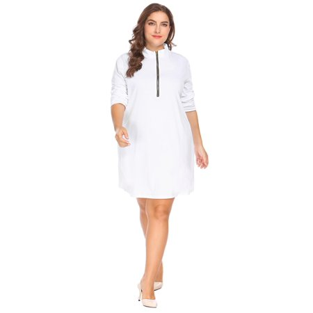 Women Stand Collar Long Sleeve Zip Front Solid Pullover Casual Dress Plus  Size HFON