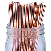 Just Artifacts 100pcs Decorative Solid Paper Straws (Solid, Metallic Rose Gold)