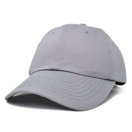 ee43d7ae DALIX Unisex Unstructured Cotton Cap Adjustable Plain Hat in Gray