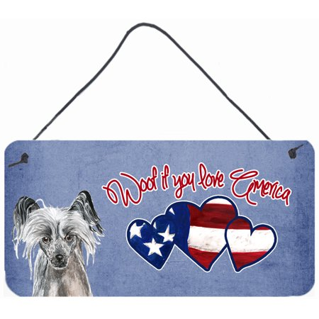 Woof if you love America Chinese Crested Wall or Door Hanging Prints SC9930DS612