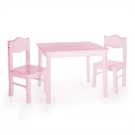 Guidecraft Classic Table and Chairs Set - Pink: Kids Playroom Furniture