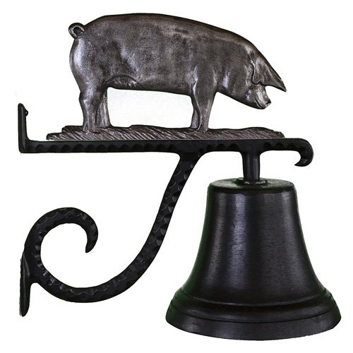 Cast Bell with Swedish Iron Pig Ornament
