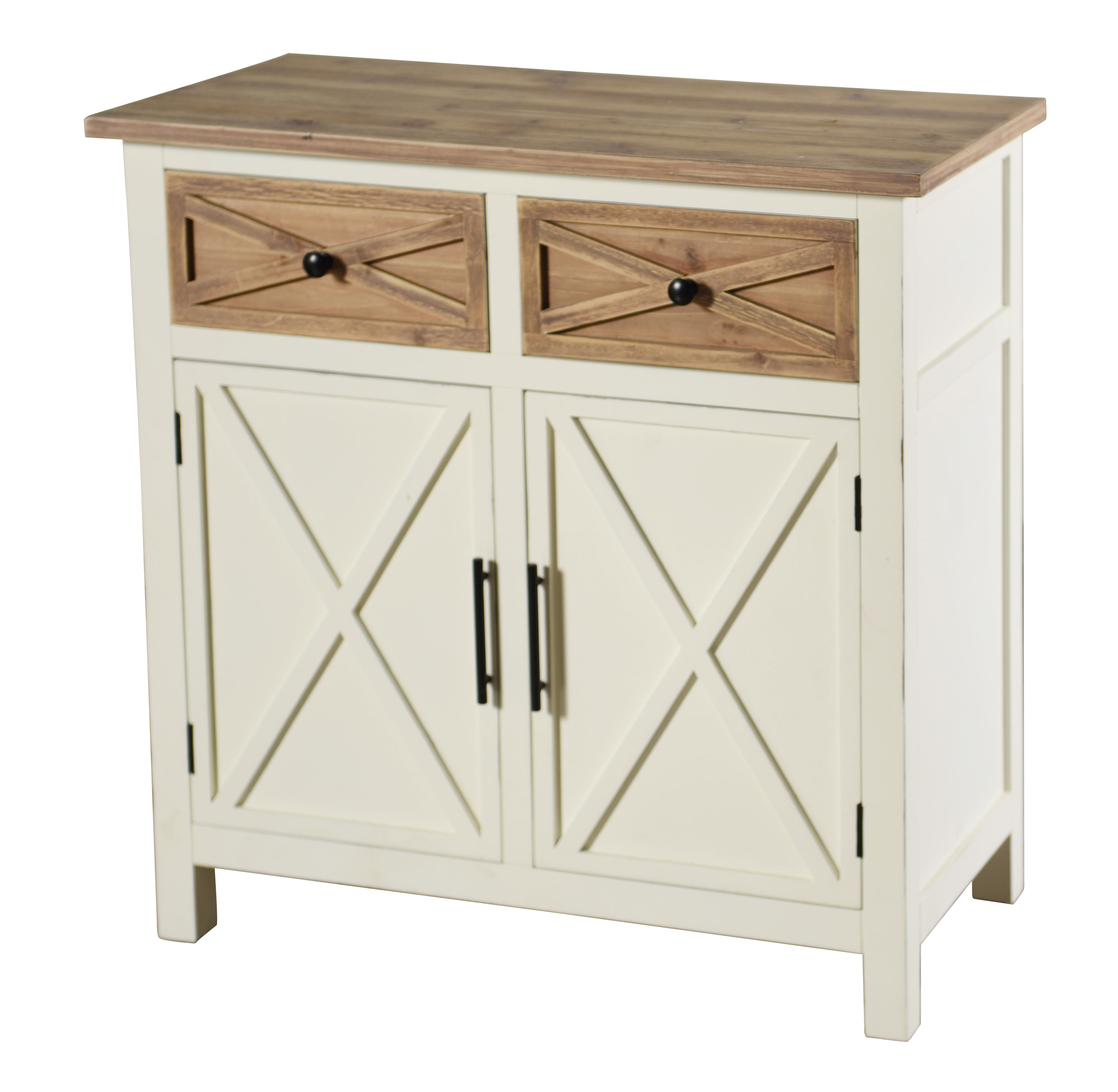 Quail Farm Two Door Cabinet - White and Natural
