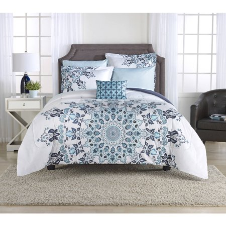 Mainstays Aqua Medallion Bed In A Bag Bedding Set