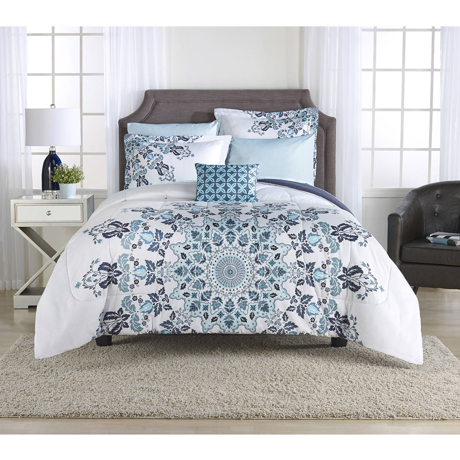 Mainstays Aqua Medallion Bed-in-a-Bag Bedding Set