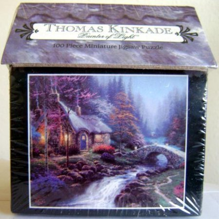 Marvelous Thomas Kinkade Twilight Cottage Hutt 100 Piece Miniature Puzzle Home Interior And Landscaping Ologienasavecom