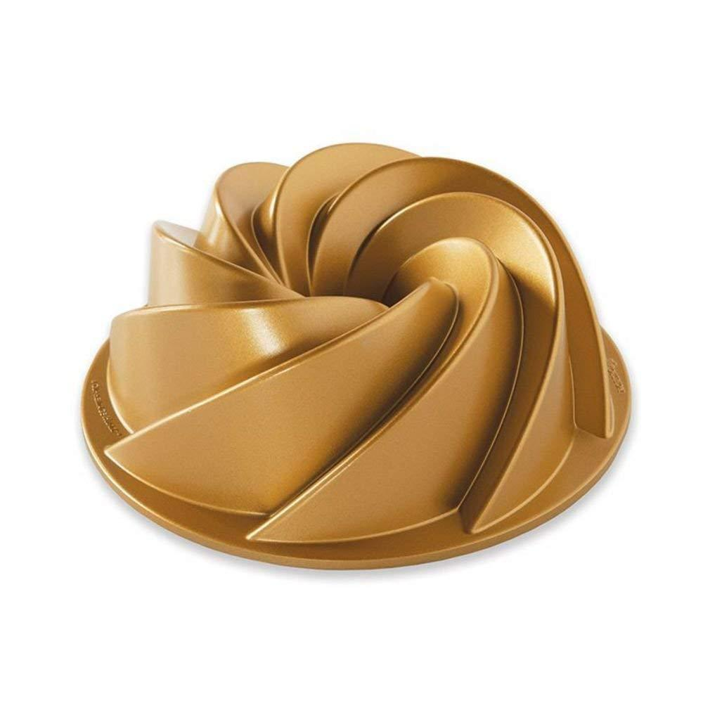 90077 Heritage Bundt 6 Cup, Gold, A new twist, Here's a half size version of a much loved Bundt design By Nordic Ware