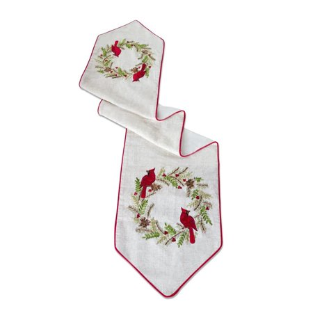 Set of 2 White and Red Cardinal Pine Wreath Decorative Embroidered Table Runner - Red And White Table Runner