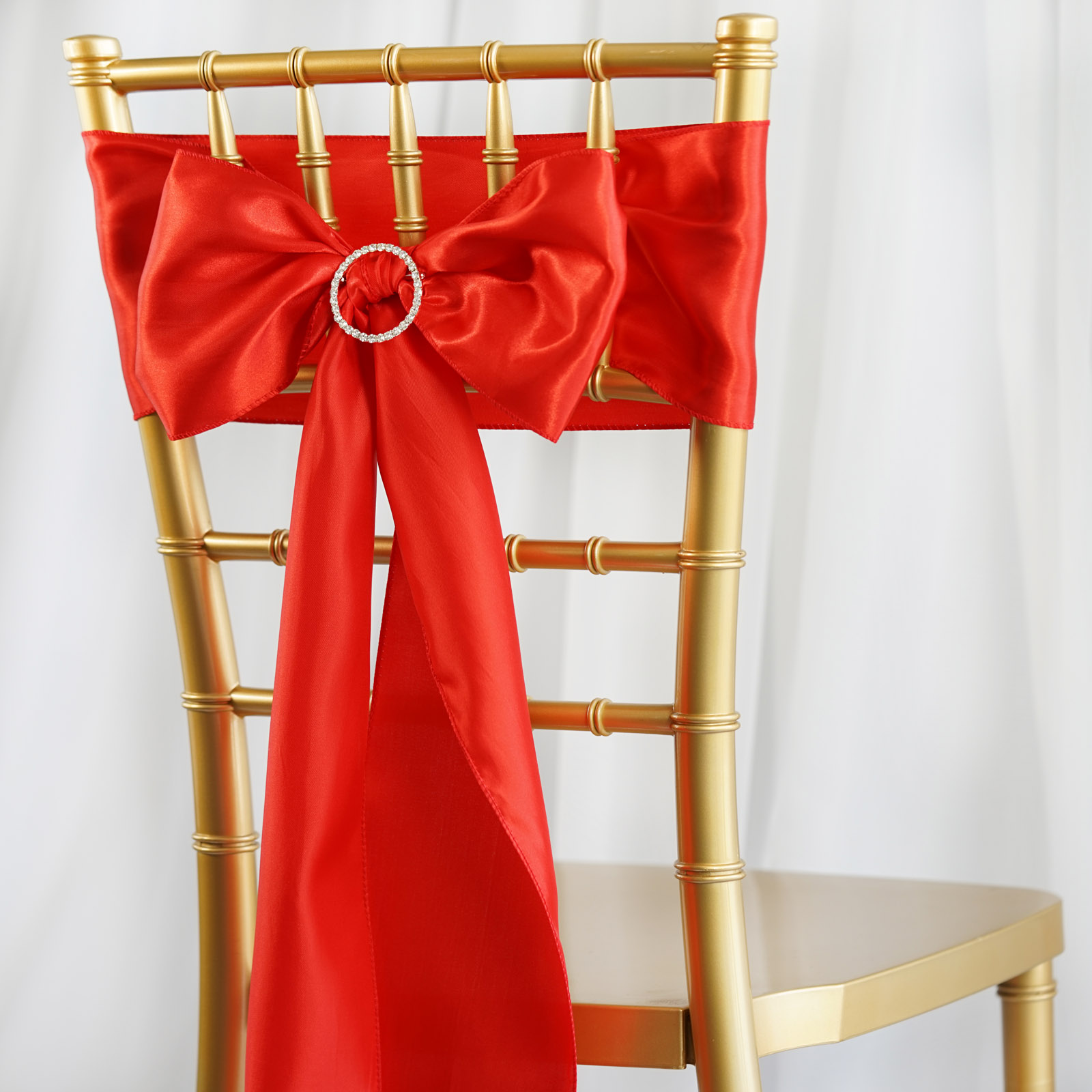 5 New Satin Chair Sashes Bows Ties - Wedding Party Decorations