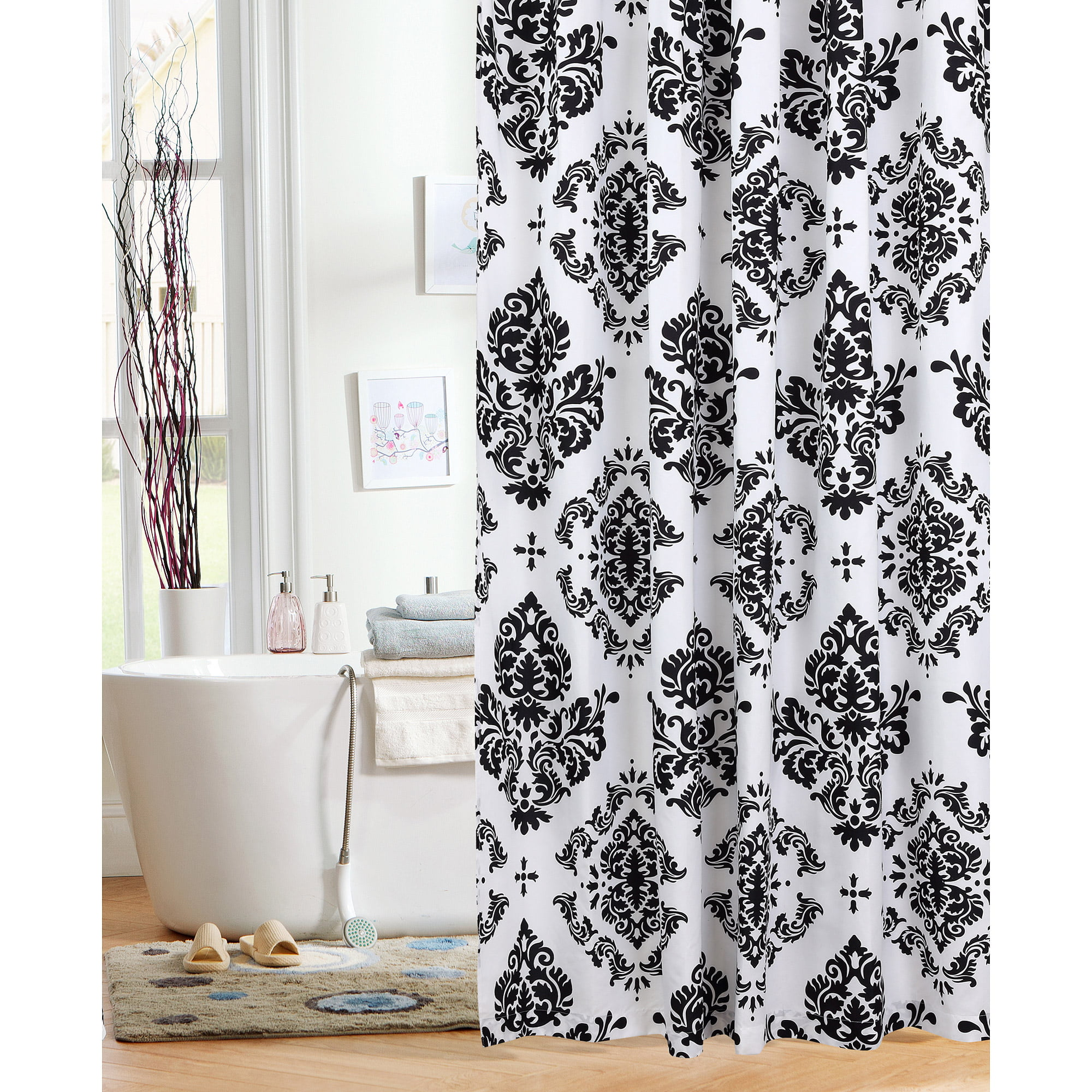 "Bathroom Signs Walmart mainstays classic noir 70"" x 72"" fabric shower curtain, black"