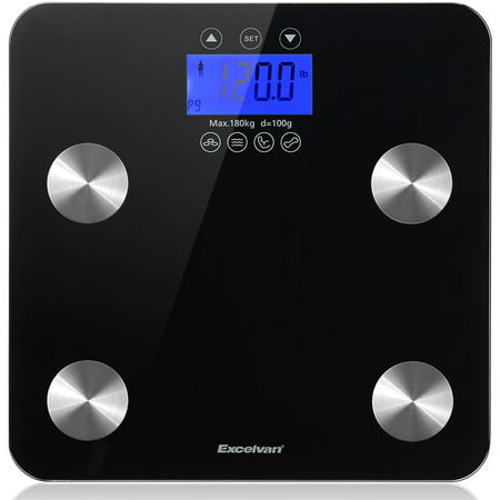 Body Fat Scale, Excelvan Digital Weight Scale 400 lbs with BMI Body Fat Composition Analyzer, Large Display, Smart Bathroom Wireless Weight Scale for Women