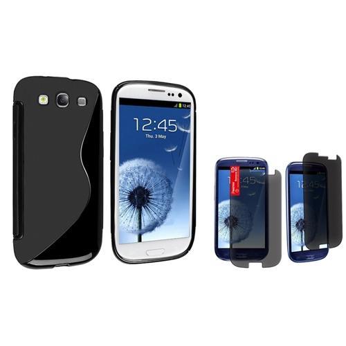 Insten Black Skin S-Line TPU Case+Privacy Film for Samsung Galaxy S3 III L710 Sprint