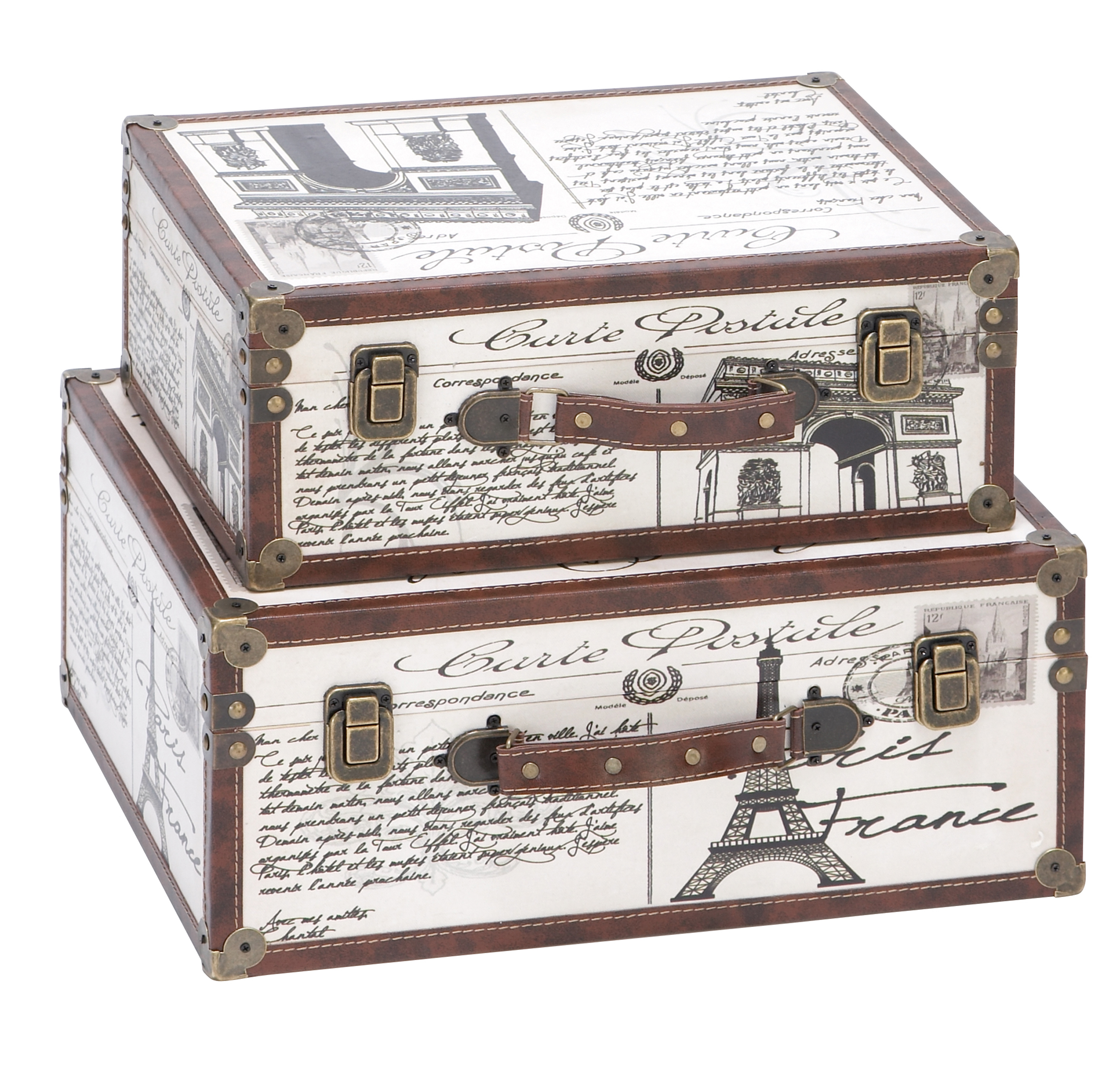 Decmode Set of 2 Traditional 15 and 17 Inch Carte Postale Wood and Leather Suitcase Boxes, White
