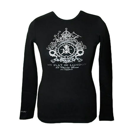 Black Long Sleeve with Silver Crest T-Shirt -