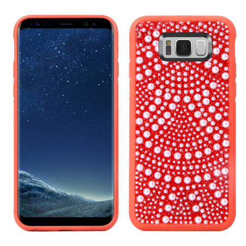 MUNDAZE Red Luxury Pearls Diamond Case For Samsung Galaxy S8 Phone