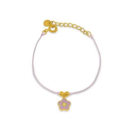 Pretty Cord - BecKids Gold Plated SIlver Pretty Pink Enamel Flower Cord Bracelet - 5.2