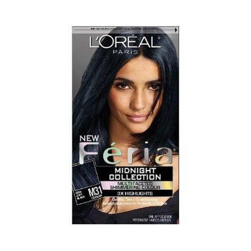 Loreal Paris Feria Midnight Collection Hair Color, Cool Soft Black - 1 Kit