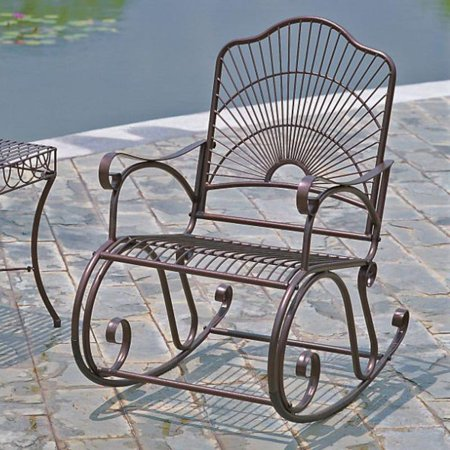Iron Rocker - International Caravan Sun Ray Iron Rocking Chair
