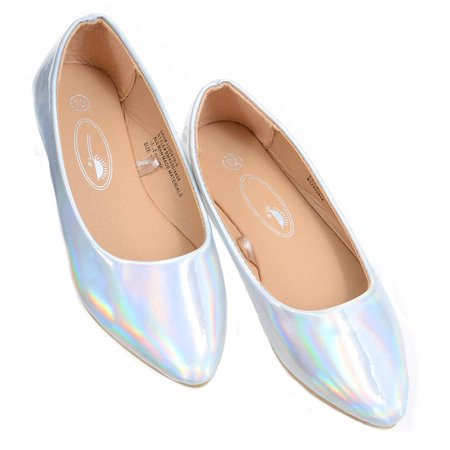 Iridescent Silver Shiny Girls Slip On Flat Shoes - 3](Girls Silver Flats)
