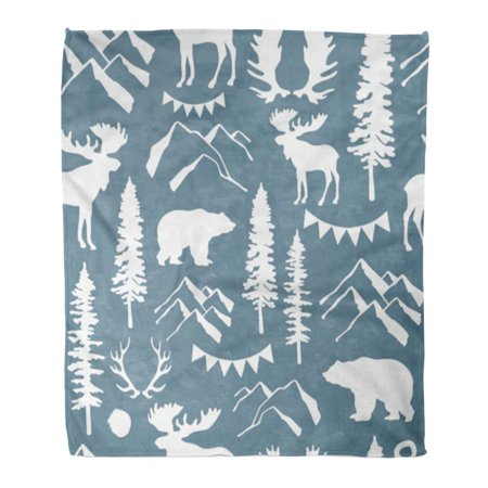 KDAGR Throw Blanket Warm Cozy Print Flannel Mountain Forest Adventure Bear Camping Expedition Extreme Flat Comfortable Soft for Bed Sofa and Couch 50x60 Inches Bear Adventure Fleece Bed