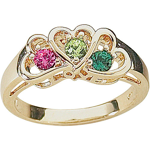 Personalized Daughter's Heart Birthstone 14kt Gold-Tone Ring