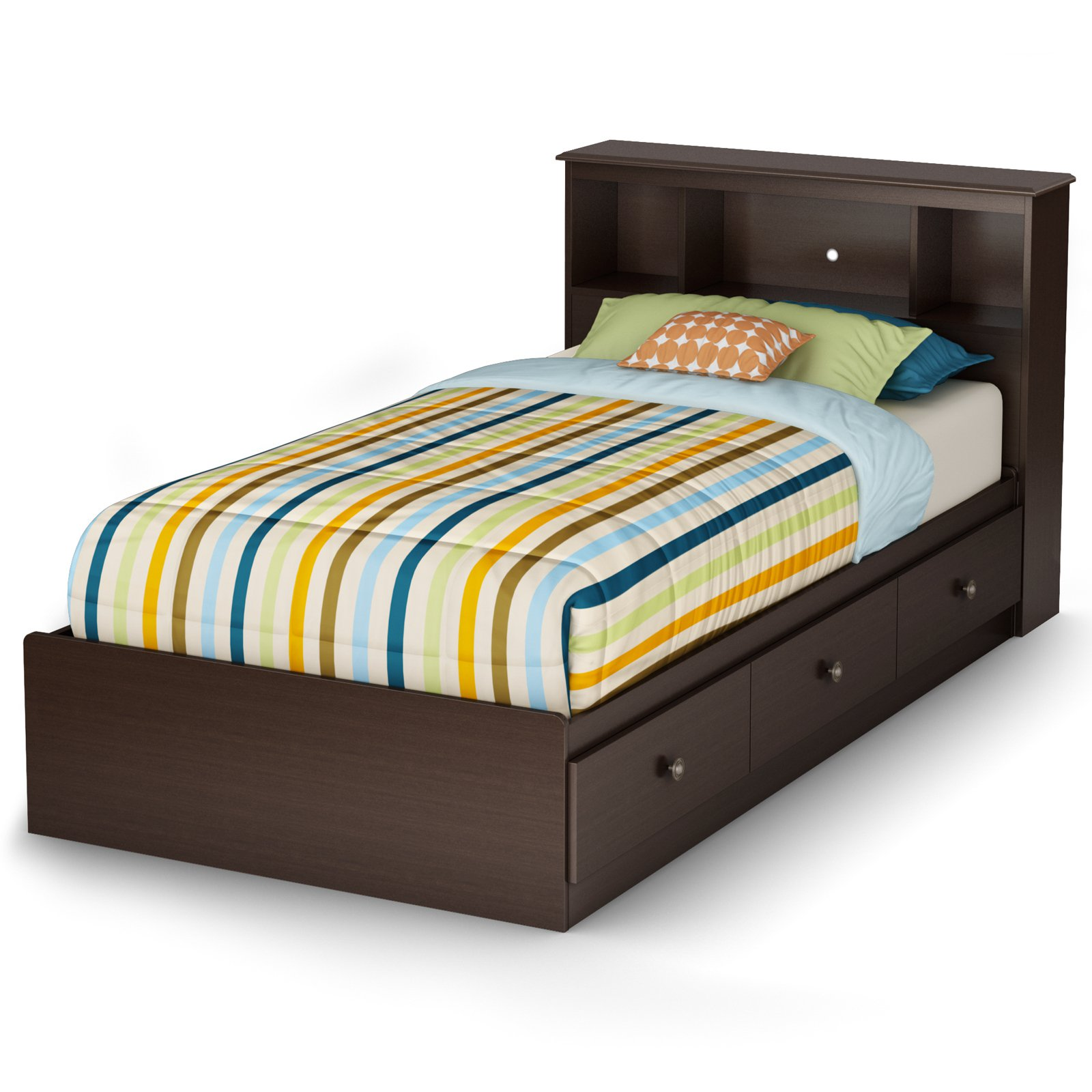 South Shore Zach Collection Twin Bookcase Bed - Chocolate
