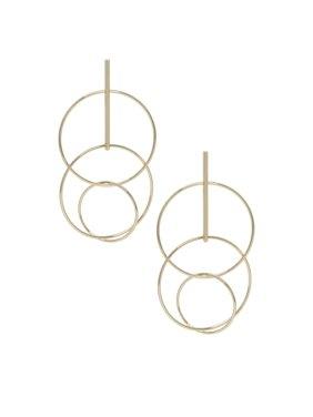 Gold Cyclical Multi-Ring & Drop Bar Earrings