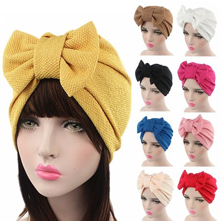 Girl12Queen Women Stretchy Turban Cancer Chemo Cap Bowknot Pleated Headwrap Hair Hjab (Rose Top Cap)