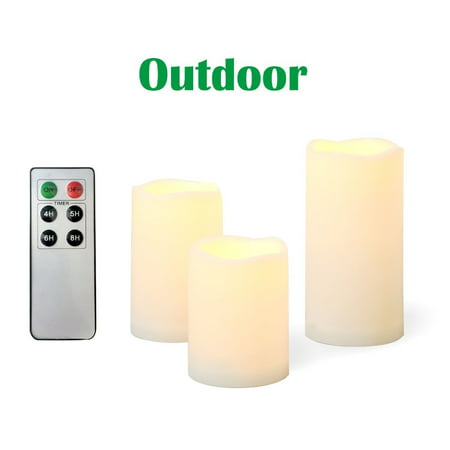 "Candle Choice 3 PCS Outdoor Flameless Candles with Remote and Timer, Realistic Flickering LED Pillar Candles, Weatherproof Battery Operated Candles, Long Battery Life, Melted Edge 3""x4"", 5"", (Battery Pillar Candles)"